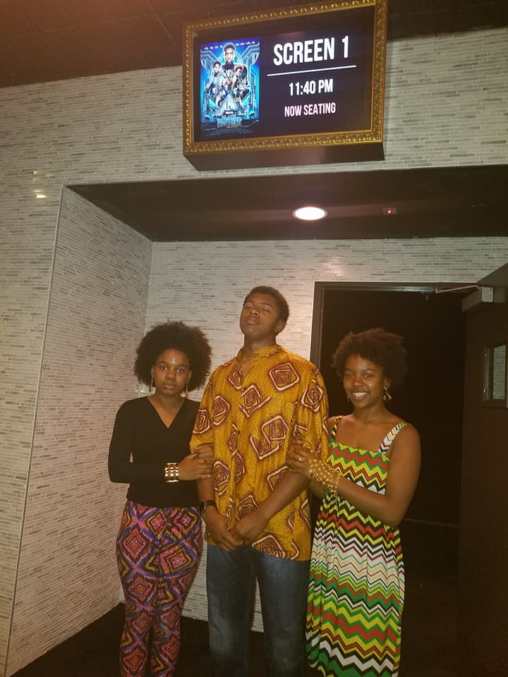 """February 18, 2018 - Nala, Mack and Noel excited to watch """"The Black Panther"""""""